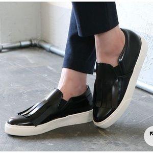 CELINE glazed leather fringed slip-on sneaker